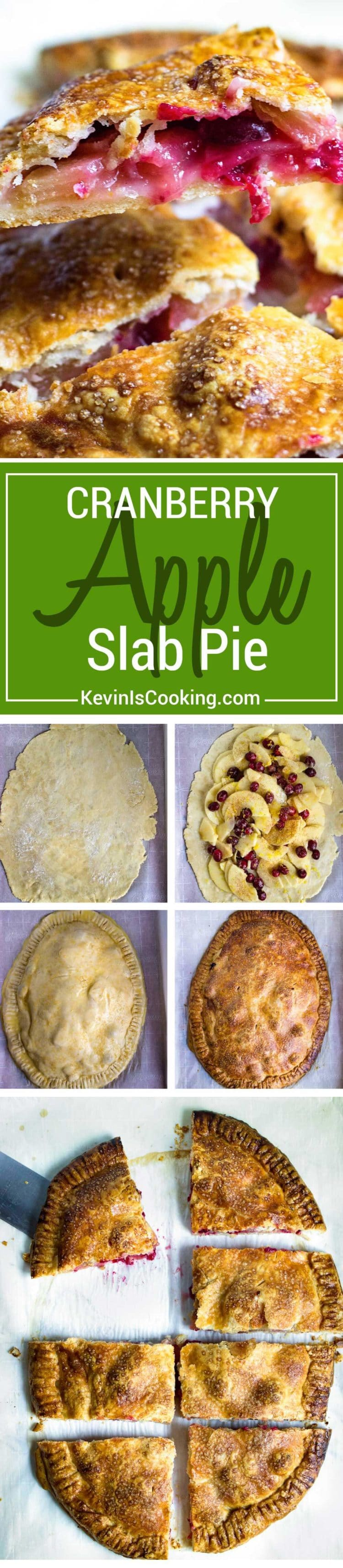 Buttery, flakey pastry dough is free formed on a baking sheet and topped with fresh cranberries, apples, lemon zest and covered to bake to a golden brown. Slide on a citing board and cut for guests. This Cranberry Apple Slab Pie is great for the family, no pie pan required!