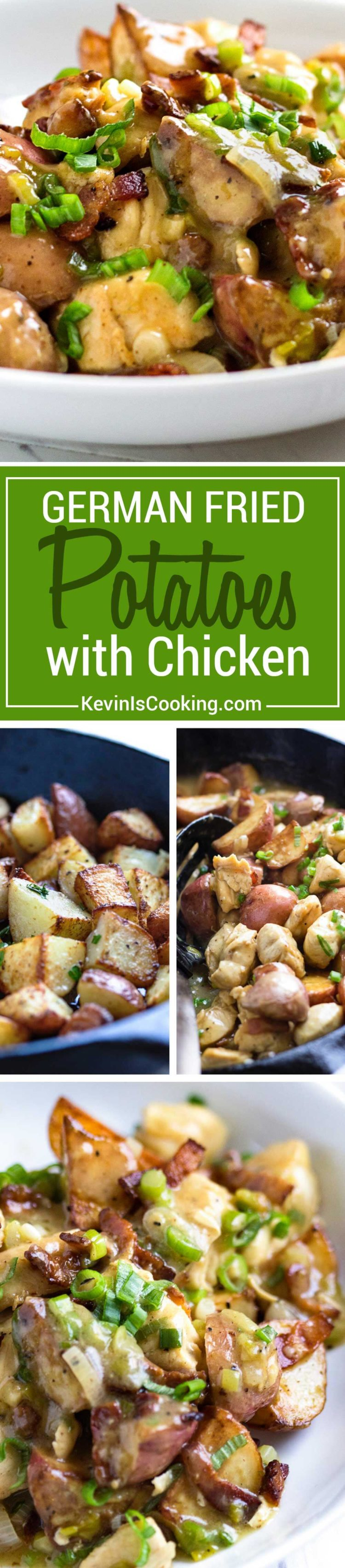 German Fried Potatoes with Chicken - A twist to the traditional German fried potato, this dish mixes a tangy sauce, rotisserie chicken and bacon for a quick and delicious dinner in minutes.