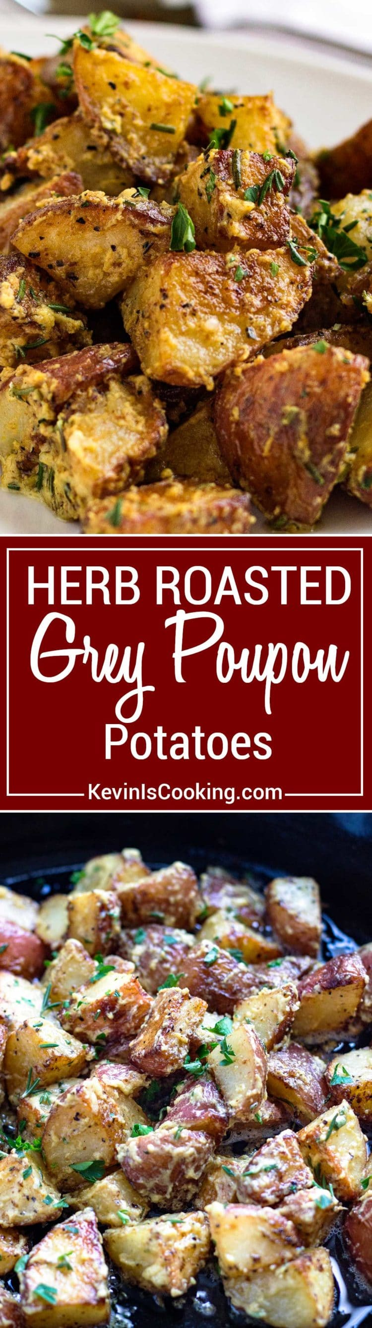 These Herb Roasted Poupon Potatoes couldn't be any easier. Caramelized red potatoes that are crispy on the outside all coated with a tangy sauce.