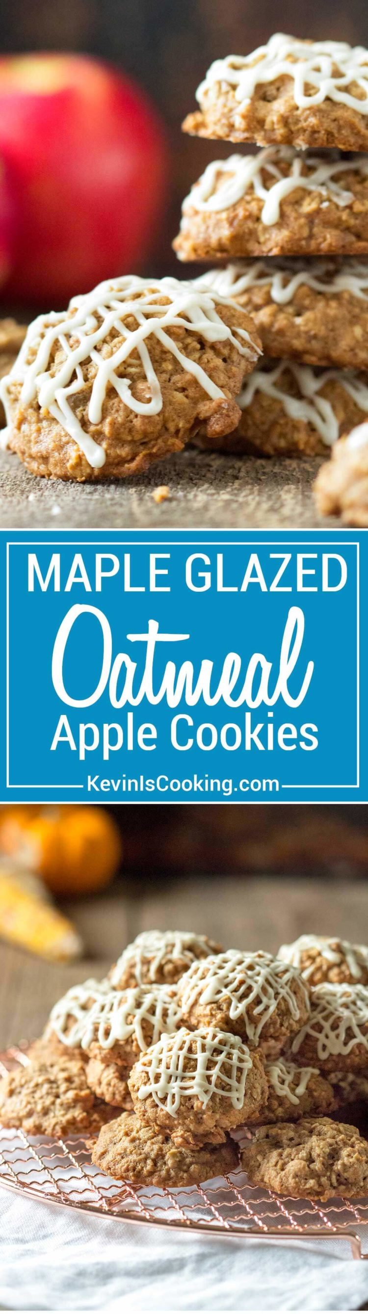 These oatmeal cookies are packed with shredded apples, warm spices and topped with a simple maple glaze. Perfect little bites and the cookies are so soft, chewy! They go pretty quickly to double the batch!