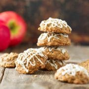 These oatmeal cookies are packed with shredded apples, warm spices and topped with a simple maple glaze. Perfect little bites and the cookies are so soft, chewy! They go pretty quickly to double the batch! www.keviniscooking.com