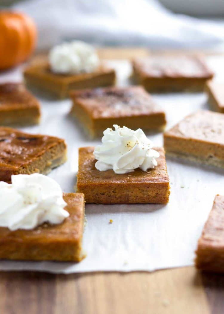 Slab pies come with all the goodness of a slice of pie, but in bar form. These Pumpkin Pie Bars are made right in the sheet pan and easily cut up for a hand held dessert bite. www.keviniscooking.com