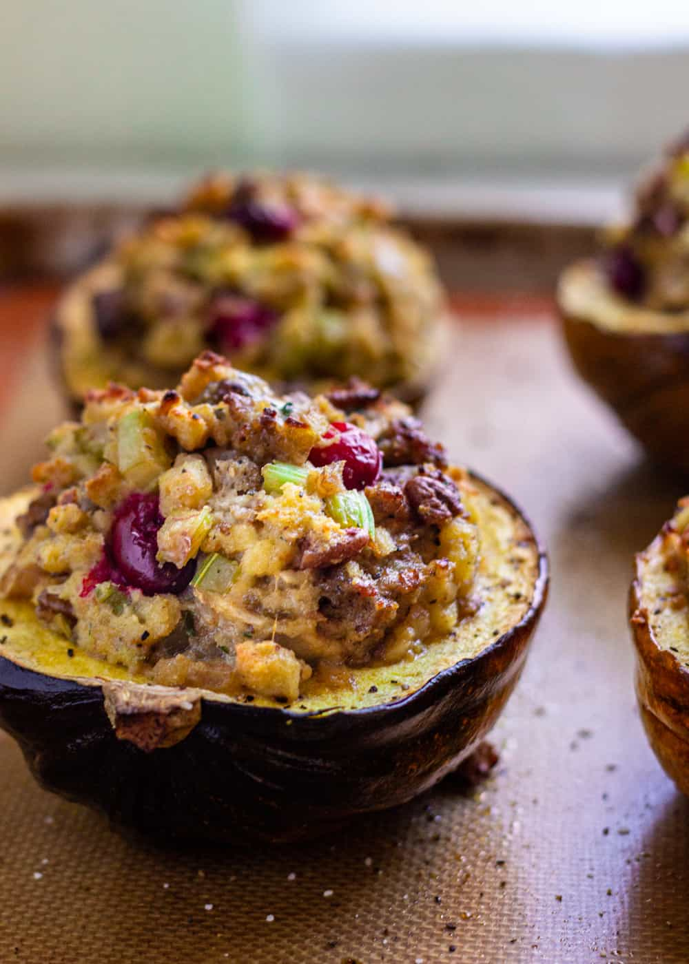 savory stuffed squash with sausage and cranberry stuffing