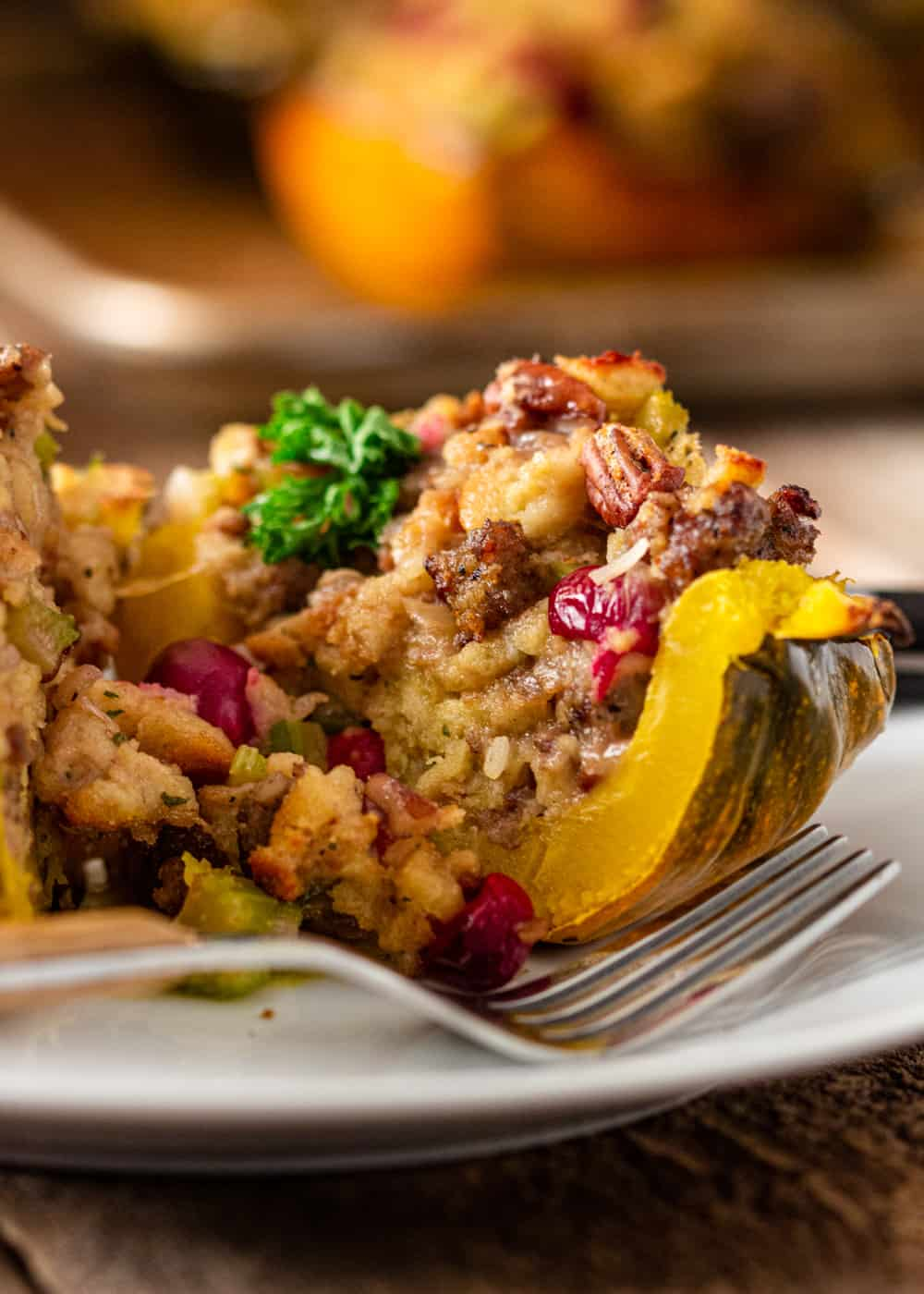 close up image of stuffed squash with homemade dressing (stuffing)
