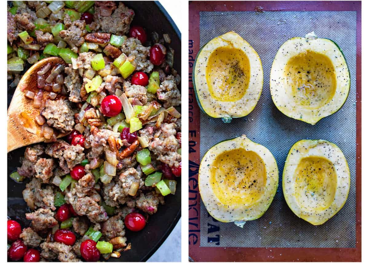 photo collage of homemade Thanksgiving dressing and baked acorn squash halves