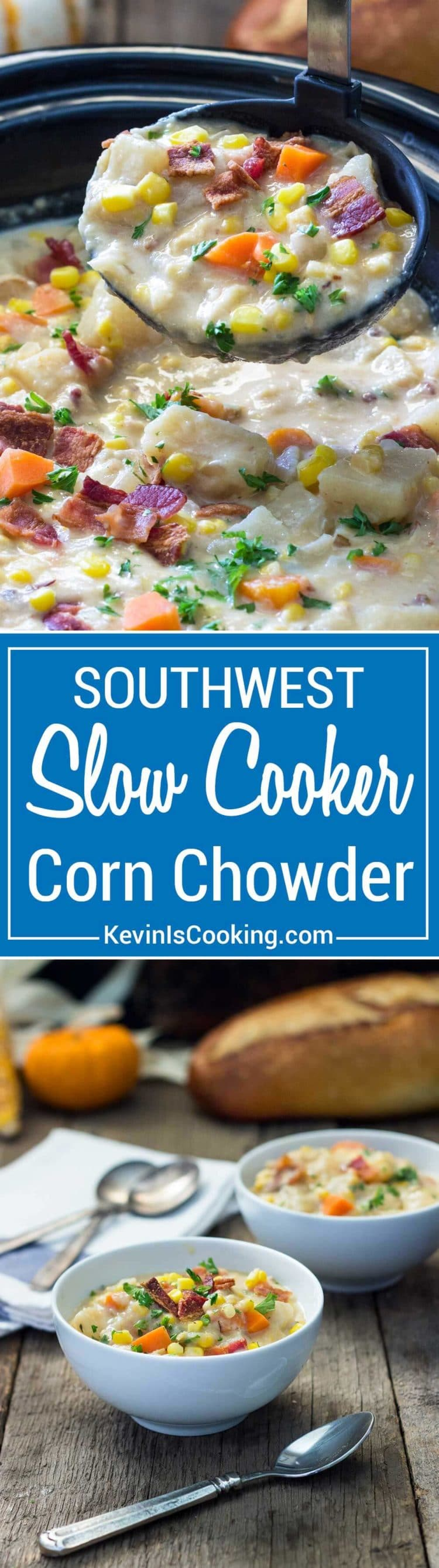 Thick and creamy with chunks of potatoes, corn and carrots this Southwest Slow Cooker Corn Chowder gets a kick from a chipotle pepper and uses no cream or butter!