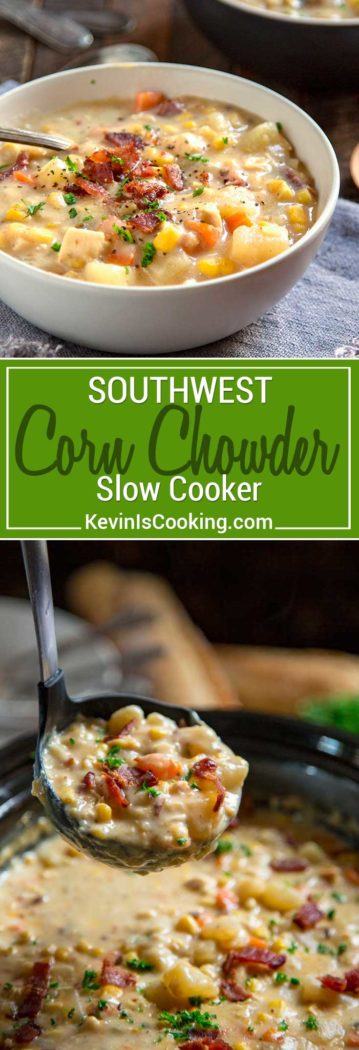 Thick and creamy with chunks of potatoes, corn and carrots, this Southwest Slow Cooker Corn Chowder gets a kick from the chipotle pepper and uses no cream!