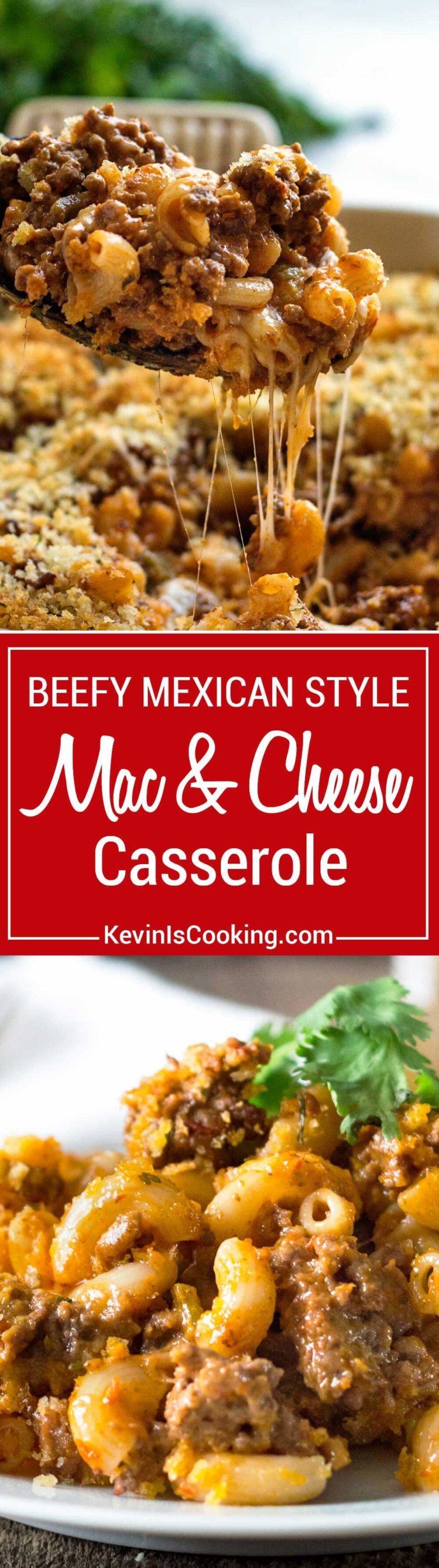 This stepped up Beefy Mac and Cheese Casserole goes a step further with a Mexican salsa addition to ground beef, extra cheese and crunchy breadcrumb topping!