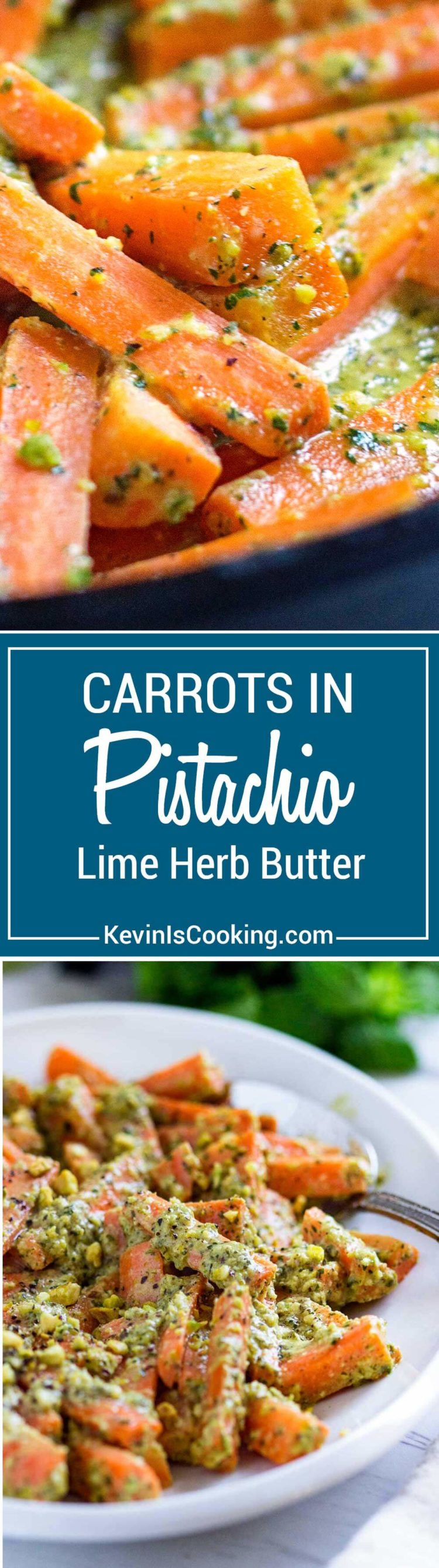 These Carrots with Pistachio Herb Butter get crunch appeal from pistachios sprinkled on top and in a wonderful lime and mint butter.