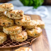 These Buttermilk Biscuits are loaded with bacon, green onion and Gruyere cheese, baked to a golden brown and perfect with soups, stews and holiday dinners.