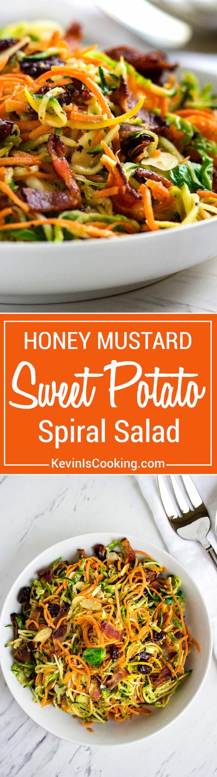 This Honey Mustard Sweet Potato Salad is made with with spiralized sweet potatoes, zucchini and shaved brussels sprouts in a bacon honey mustard dressing.