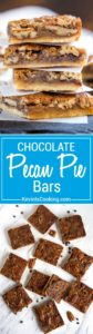 Slab Pecan Pie Bars! Imagine all the richness of a slice of pecan pie but with a layer of melted chocolate in between that luscious pecan pie filling and flaky dough crust in bar form. Perfect for large crowds, holiday family get togethers… No dishes to clean up after either!