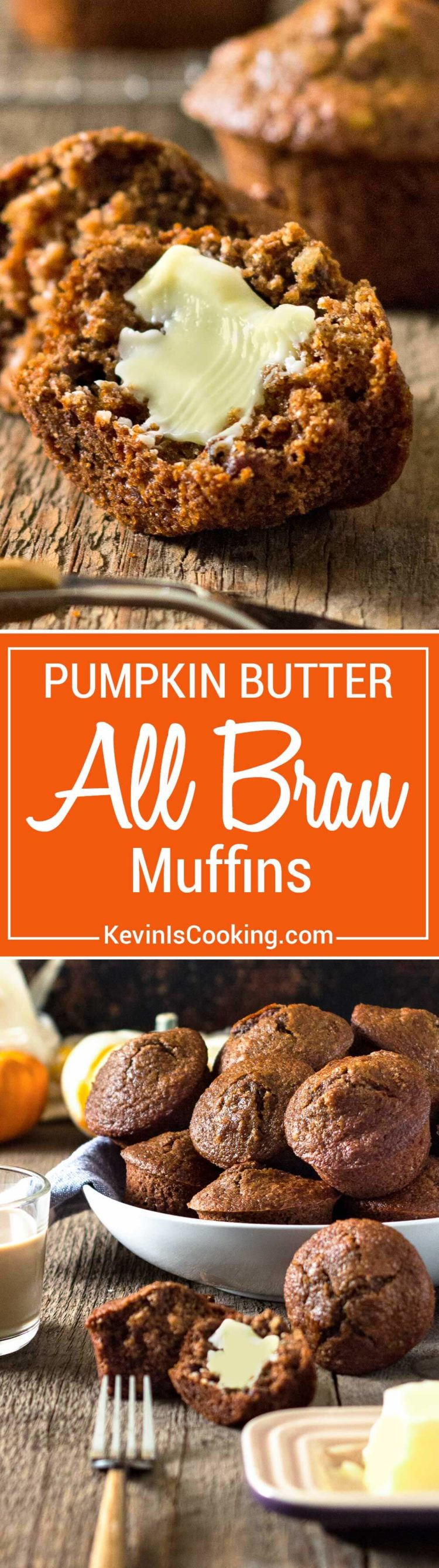 Super moist and loaded with pumpkin flavor and spices, these Pumpkin Butter All Bran Muffins are great for breakfast with coffee and some fruit. Spread with a little butter to melt in and enjoy the holidays! Buttermilk and Pumpkin Butter are the secret!