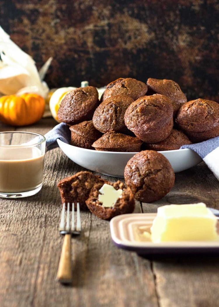 Super moist and loaded with pumpkin flavor and spices, these Pumpkin Butter All Bran Muffins are great for breakfast with coffee and some fruit. Spread with a little butter to melt in and enjoy the holidays! Buttermilk and Pumpkin Butter are the secret! www.keviniscooking.com