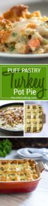 This turkey pot pie has a golden brown puff pastry pie shell, get's filled with chucks of turkey and veggies, all in a creamy, savory sauce using no cream! Family an friends LOVE this one!