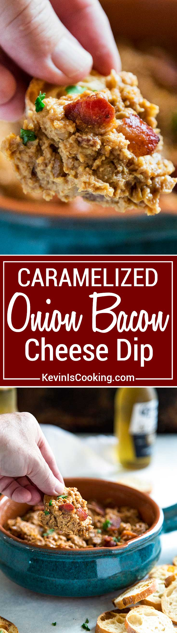 Bacon Cheese Dip - When caramelized onions mix with balsamic vinegar, brown sugar, Dijon and Sriracha then meet up with 3 cheeses it ends up being one killer appetizer to spread on toasted bread slices or crackers!