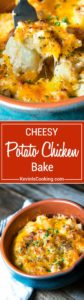 A great comfort food dish that can be a side or bumped up to meal status with chicken, this Cheesy Potato Chicken Bake boasts three cheeses and is a house favorite!