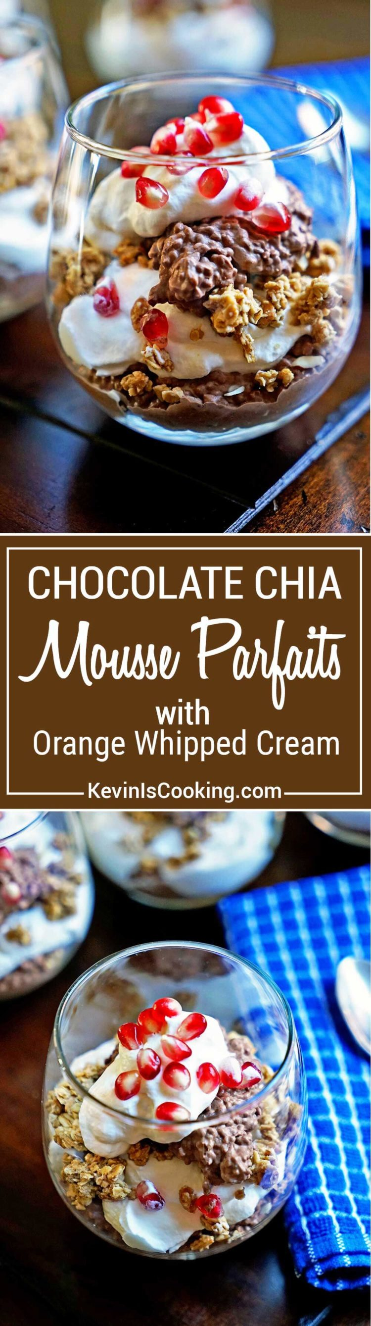 These Chocolate Chia Mousse Parfaits are made with coconut milk, chia seeds, rich cocoa and layered with granola and orange flavored whipped cream. Family an friends LOVE this one!
