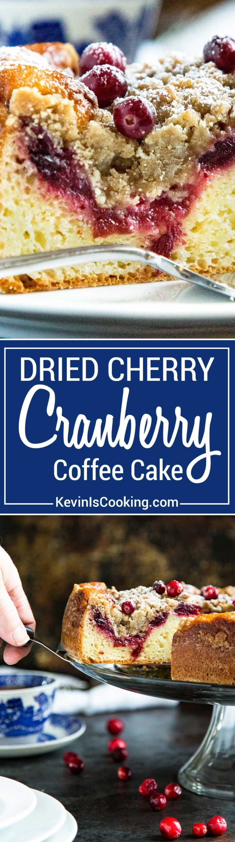 This Cranberry Coffee Cake has a brown sugar streusel that's a crumbly and sweet contrast to the tangy cranberry jam that tops this super moist coffee cake.
