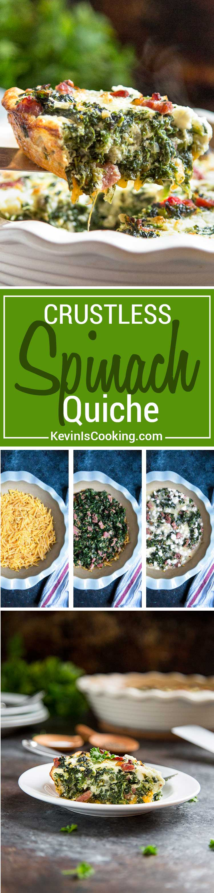 Perfect for the holiday breakfast table! A healthy alternate to a traditional quiche with crust, this Crustless Spinach Quiche with Ham is packed with spinach, cheeses and ham for that lighter breakfast touch.