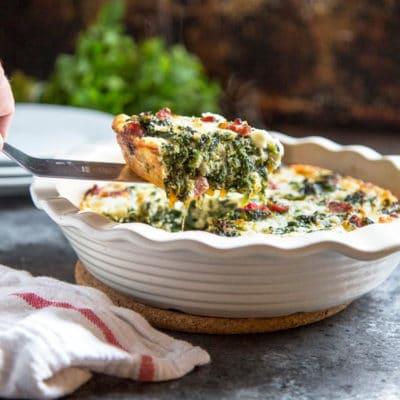 Crustless Spinach Quiche with Ham