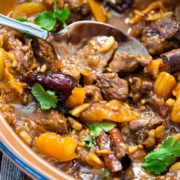 This Lamb Tagine with Dates has coriander, cinnamon and saffron mixed with the onion, garlic and almonds that simmer and the lamb is beyond tender. www.keviniscooking.com