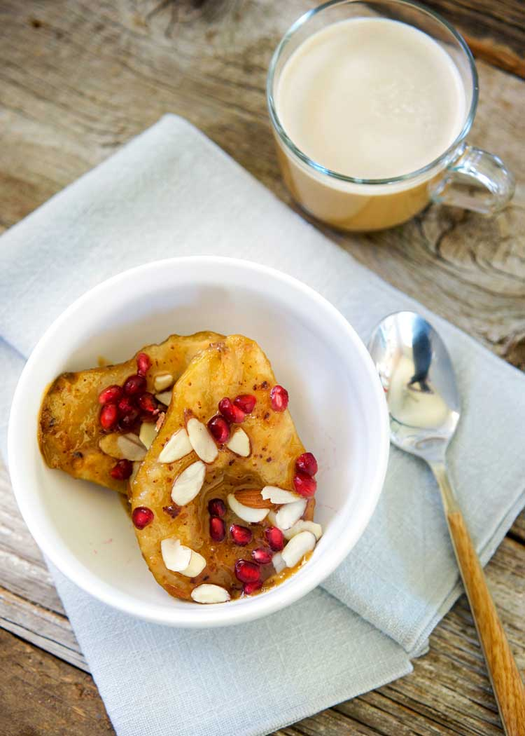 These Roasted Pears with Almond Paste are so easy to make and look impressive. Roasted with butter, brown sugar on a crumbling of almond paste these pears are amazing. Sure to impress! www.keviniscooking.com