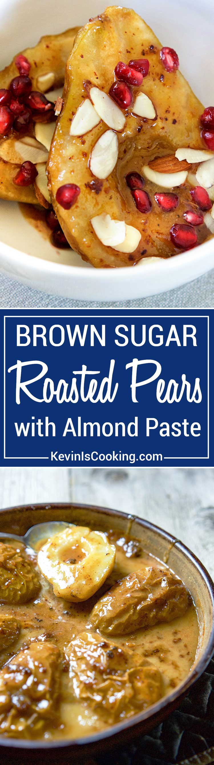These Roasted Pears with Almond Paste are so easy to make and look impressive. Roasted with butter, brown sugar on a crumbling of almond paste these pears are amazing. Sure to impress!