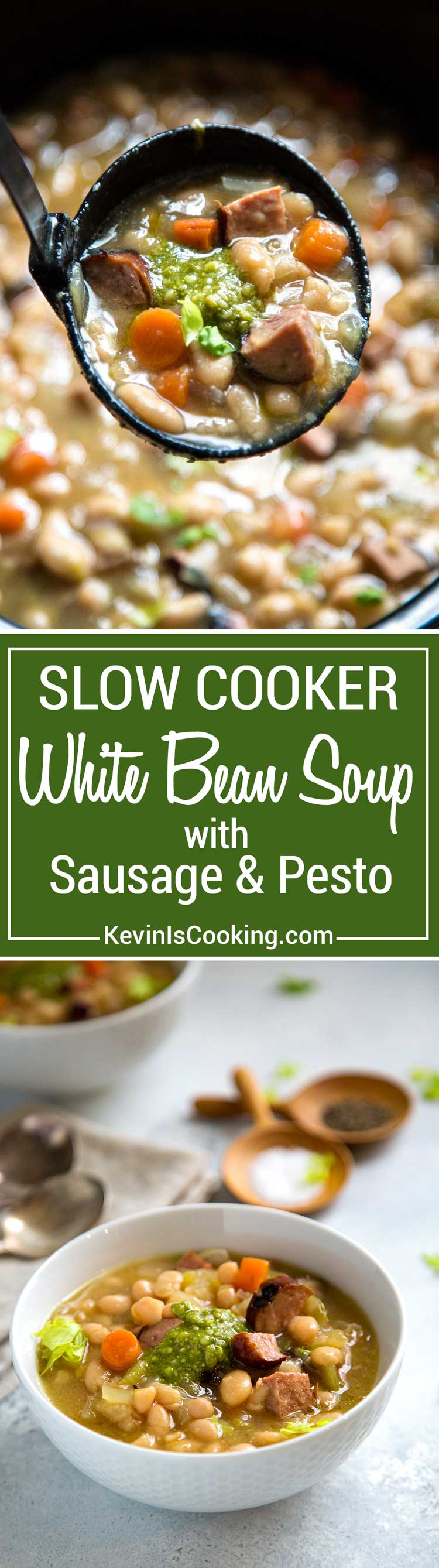 Slow simmered white beans get a kick in flavor from hot Italian sausages and then a healthy helping of chopped kale. Fresh herbs and vegetables make this!