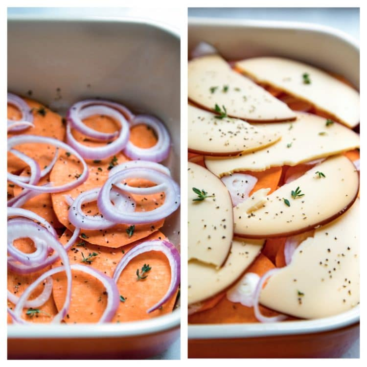 Sweet Potato Gratin has layers of sliced sweet potato, shallots and cheese get topped with cream and chicken broth, then baked to a bubbly, golden brown. www.keviniscooking
