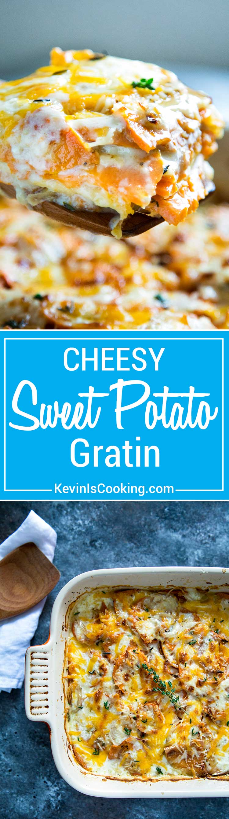 Sweet Potato Gratin has layers of sliced sweet potato, shallots and cheese get topped with cream and chicken broth, then baked to a bubbly, golden brown. Fantastic side dish and a switch up from the usual scalloped potatoes!