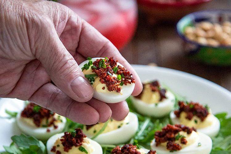 Crispy Chorizo Deviled Eggs