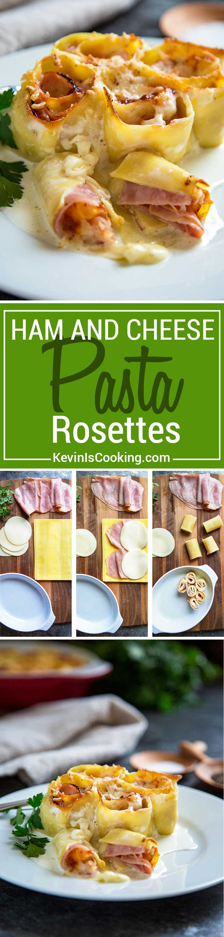 Ham and Cheese Pasta Rosettes start with fresh pasta sheets, sliced ham, fontina or provolone cheese. Roll up, cover with with cream and nutmeg and bake!