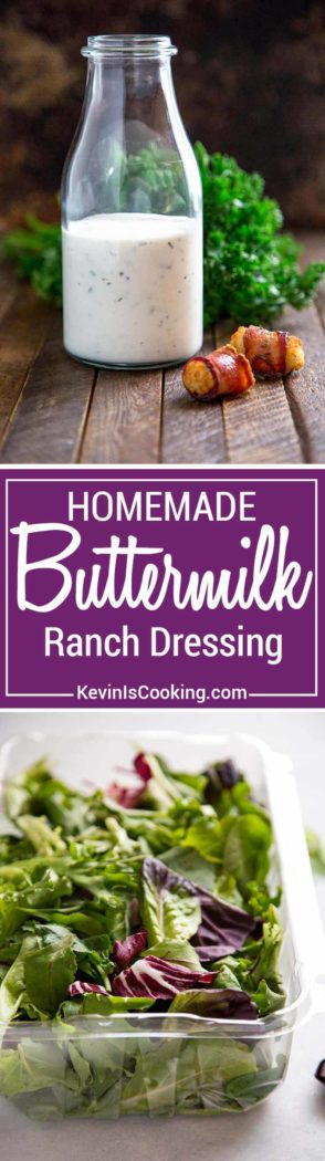Homemade Buttermilk Ranch Dressing, a thick and creamy salad dressing made with buttermilk, yogurt, herbs and mayonnaise. Perfect on salads or for dipping!