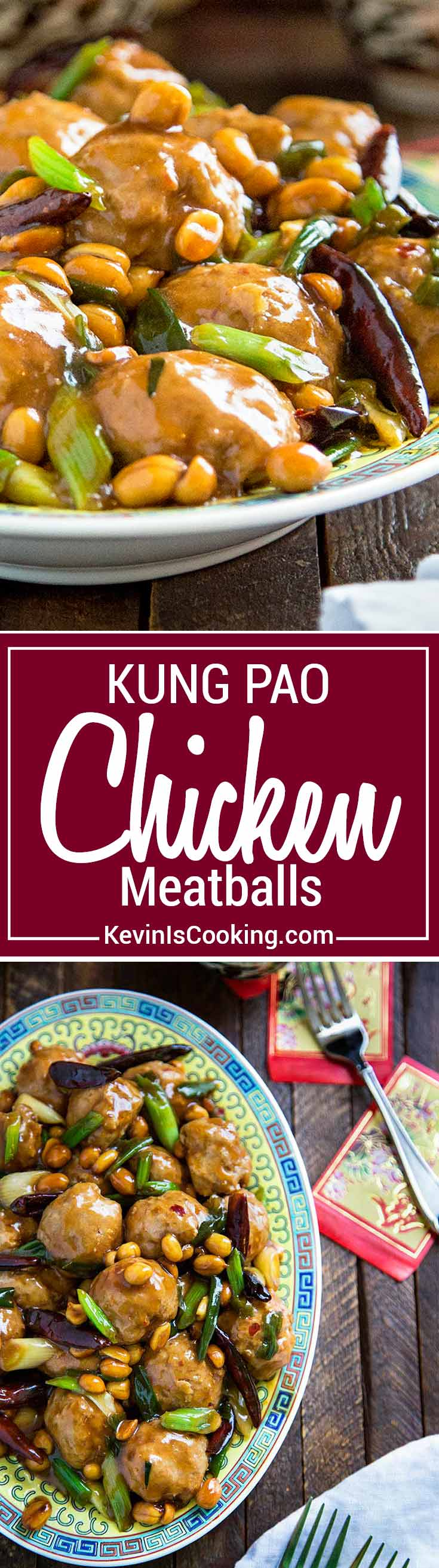These Kung Pao Chicken Meatballs are made with a bit of peanut butter and chili paste in the chicken mixture and get baked and coated in an authentic sauce.