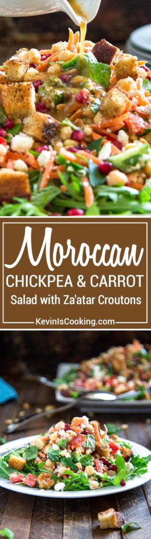 This Moroccan Salad with Za'atar Croutons is chok full of shredded carrots, chickpeas and other veggies and pomegranate, feta and toasted pine nuts, but the kicker is the lemon and cumin dressing that brings this all together. Topped with crunchy homemade za'atar spiced croutons and dinner is served!