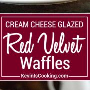 These Red Velvet Waffles with Cream Cheese Glaze are the perfect way to wake up your sweetie for Valentines Day breakfast or after a great dinner for dessert. These red chocolate fluffy waffles with a cream cheese glaze are a sure hit!