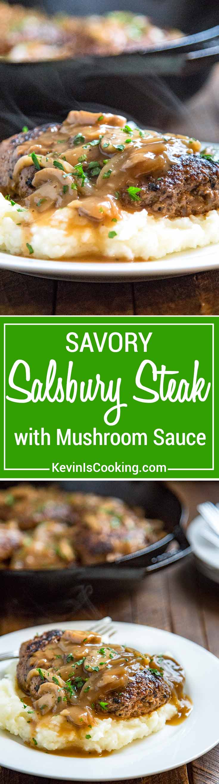This Salisbury Steak with Mushroom Gravy is a great from scratch recipe straight from one of mom's archive recipe cards. A savory salisbury steak dinner with an onion, mushroom gravy that is perfect served over mashed potatoes for comfort food goodness!