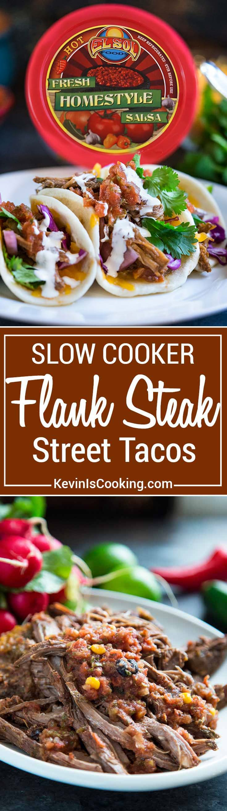 Prepped for Taco Tuesday? Slow Cooker Flank Steak Street Tacos are a great party appetizer or dinner. Fresh El Sol Salsa makes it. #spon