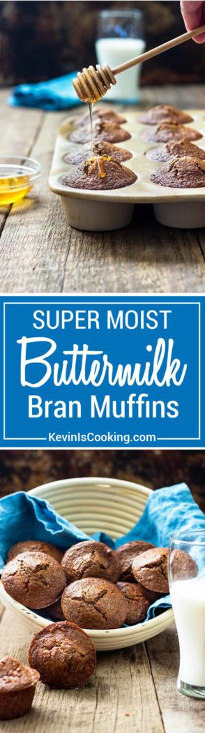 These Super Moist Buttermilk Bran Muffins are dense, great for breakfast with coffee and some fruit. Drizzle honey on top! Buttermilk and Apple Butter are the secret!