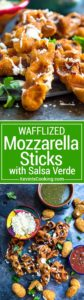These Wafflized Mozzarella Sticks with Salsa start out with frozen mozzarella sticks that get the waffle treatment. More crunchy edges, more cooked cheese, these are perfect for dunking and eating for the big game day party!