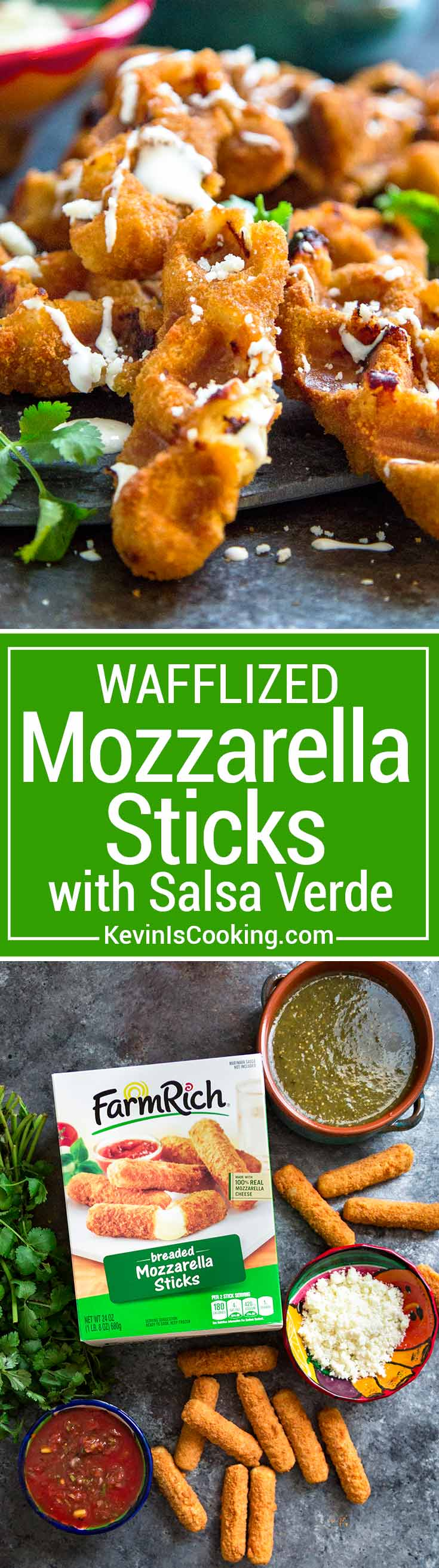 These Wafflized Mozzarella Sticks with Salsa start out with frozen mozzarella sticks that get the waffle treatment. More crunchy edges, more cooked cheese, these are perfect for dunking and eating for the big game day party! #HalftimeHero @FarmRichSnacks #spon