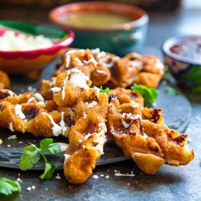 Wafflized Mozzarella Sticks with Salsa