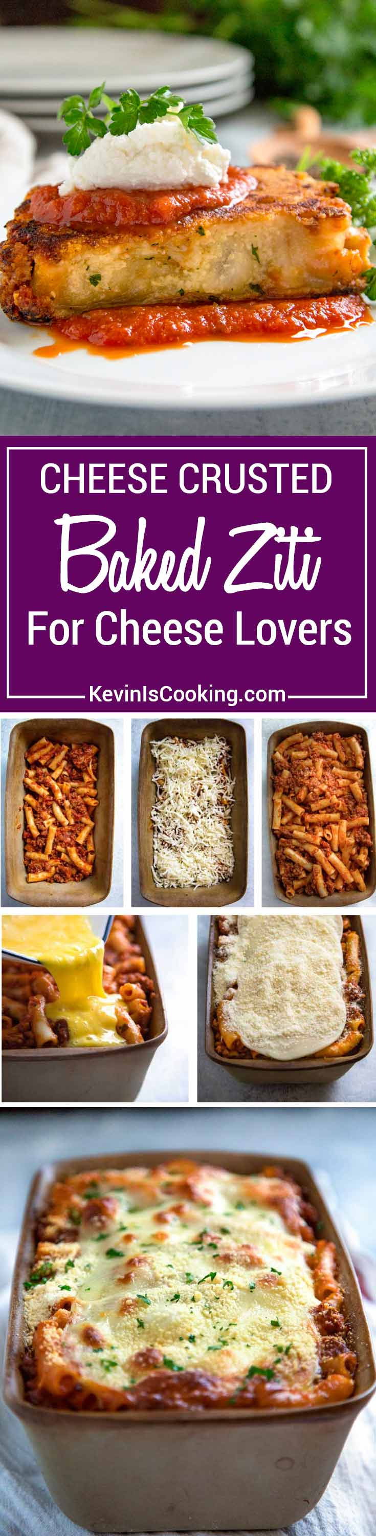 Cheese Crusted Baked Ziti - This classic baked ziti with a bolognese sauce has extra cheese pan fried on each side for extra cheesy goodness.