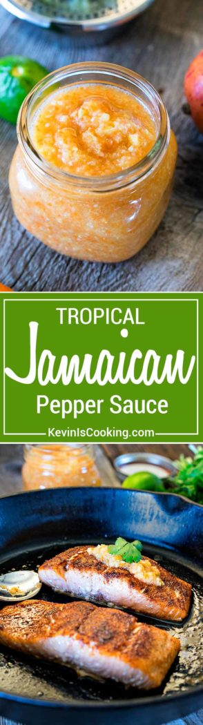 ThisJamaican Pepper Sauce brings the heat with habaneros, mango, pineapple and cumin, but the secret flavor weapon ingredient I like to add is a carrot. So addicting!
