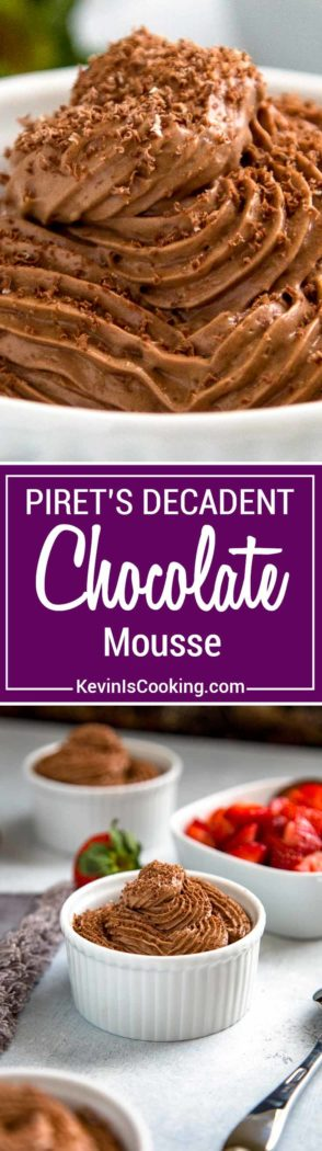 Piret's Chocolate Mousse is a classic French dessert made with melted chocolate, eggs and whipping cream that I learned to make at Piret's in San Diego. Heavenly and decadent indeed!
