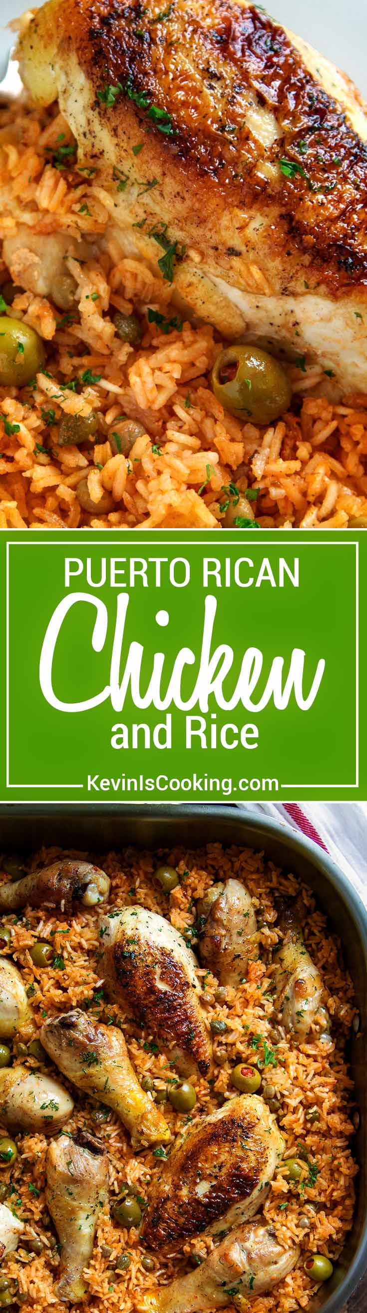 Puerto Rican Chicken and Rice is a Latin classic and packed with flavor, not heat. Browned chicken simmers in rice, flavorful sofrito, olives and capers. So Good!