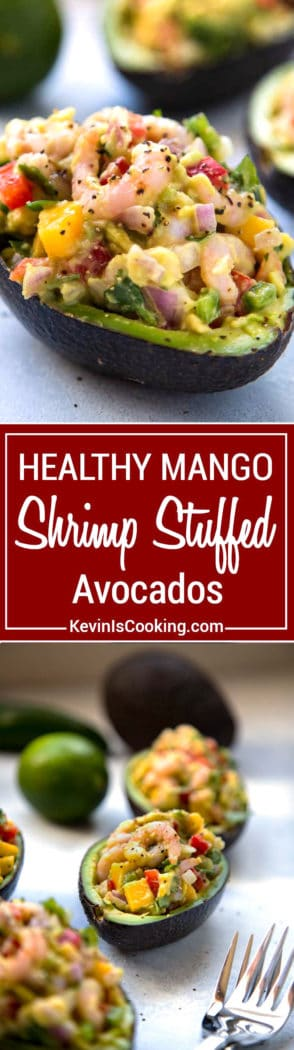 Mango Shrimp Stuffed Avocado - easy, healthy and filled with shrimp, mango and crunchy vegetables, a perfect appetizer or light lunch that's good for you!