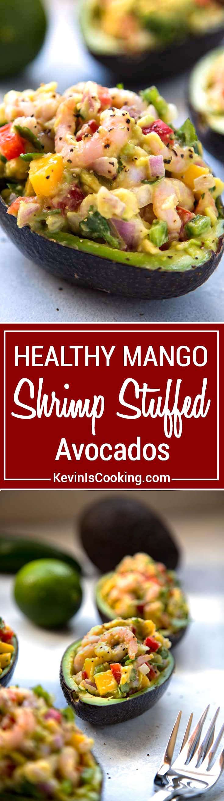 Mango Shrimp Stuffed Avocado - easy, healthy and filled with shrimp, mango and crunchy vegetables, a perfect appetizer or light lunch that's good for you.