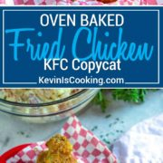 "My Oven Fried Chicken is a KFC Copycat, is BAKED not fried, and has a fantastic flavor and crunch. What more could you ask for in ""fried chicken"" without all the grease!"